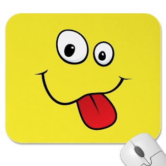 Funny-mousepad-with-teasing-goofy-smiley-face-sticking-out-his-tongue
